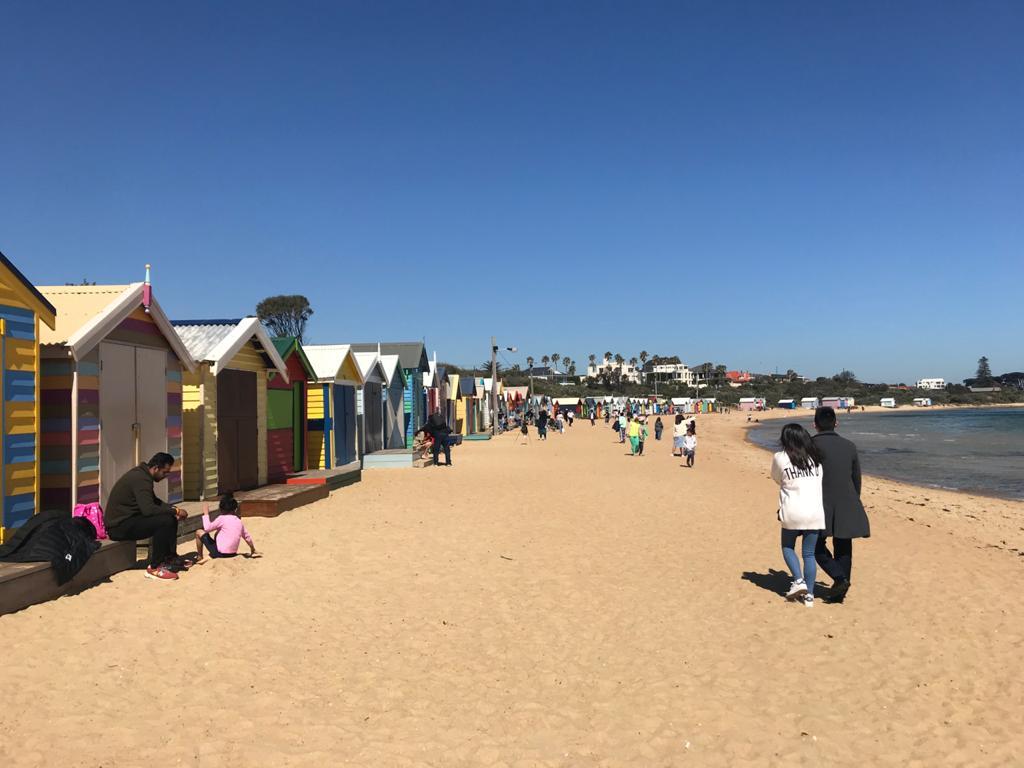 Casas de colores en Brighton Beach en Melbourne, Australia