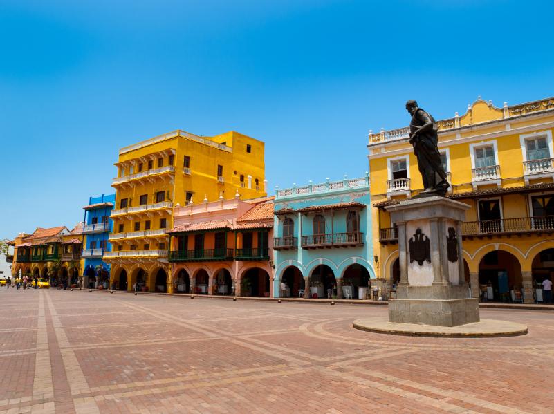 Fachadas coloniales de Cartagena de Indias en Colombia