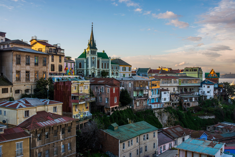 Casas coloridas del Cerro Alegre en Valparaíso