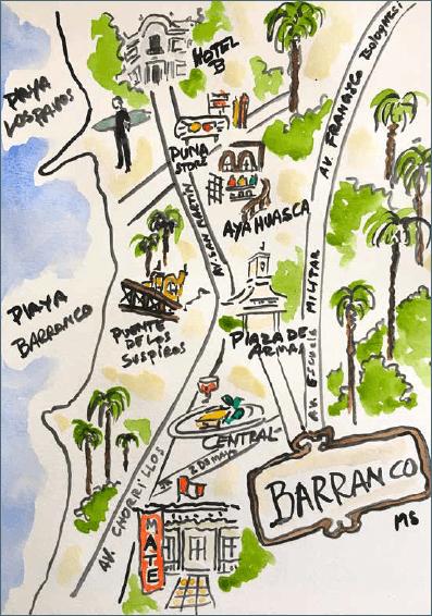 Mapa ilustrado de Barranco, Lima.