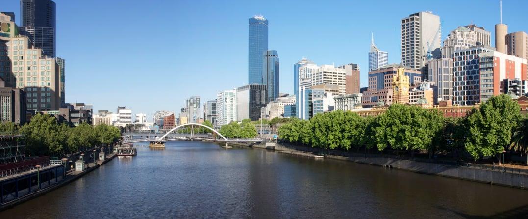 Vista desde el río de Melbourne, Australia