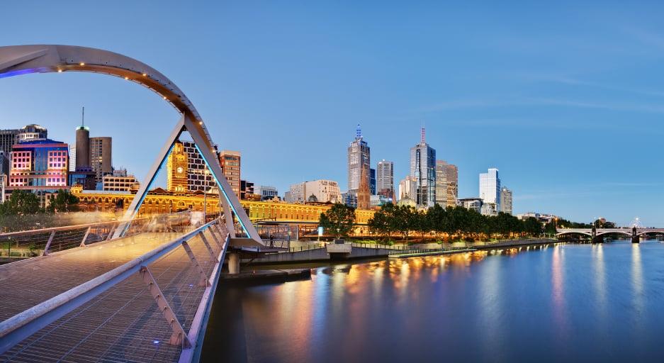 Melbourne, Australia, al atardecer
