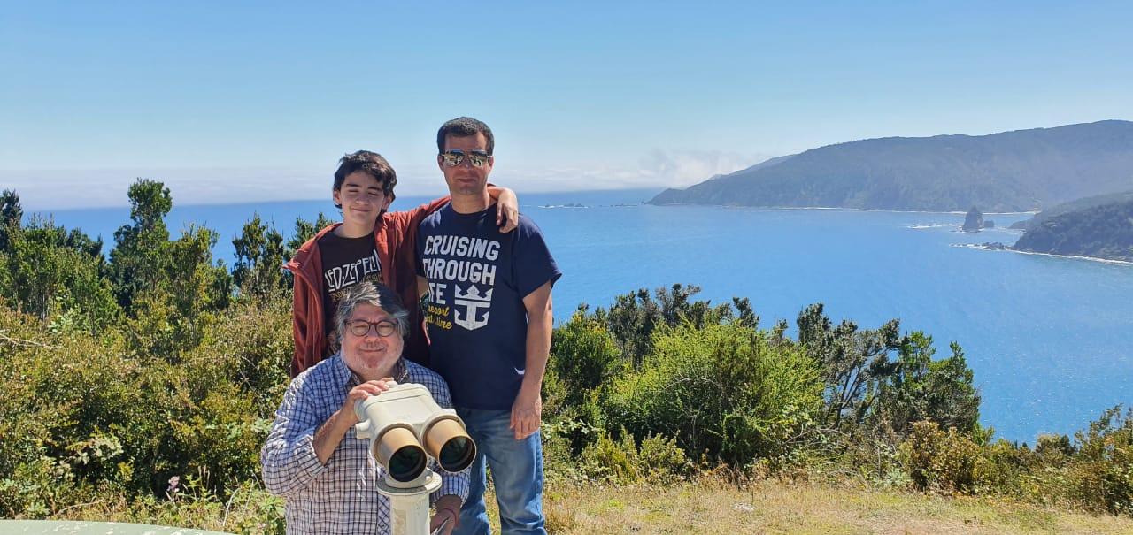 Mirador en el camino, playas del sur de Chile en la Región de Los Lagos