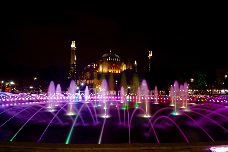 Santa Sofía de noche en Estambul, Turquía