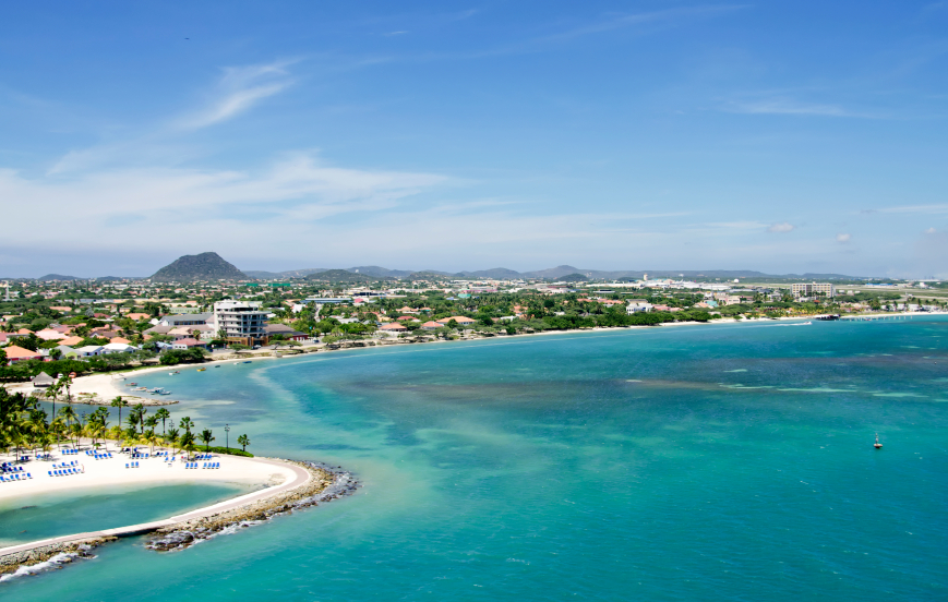 Vista aérea de Aruba en el mar Caribe