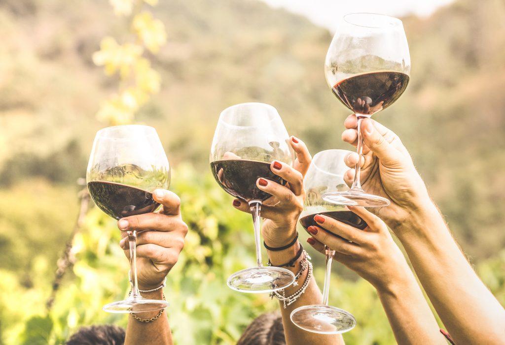 Personas haciendo un salud con copas de vino